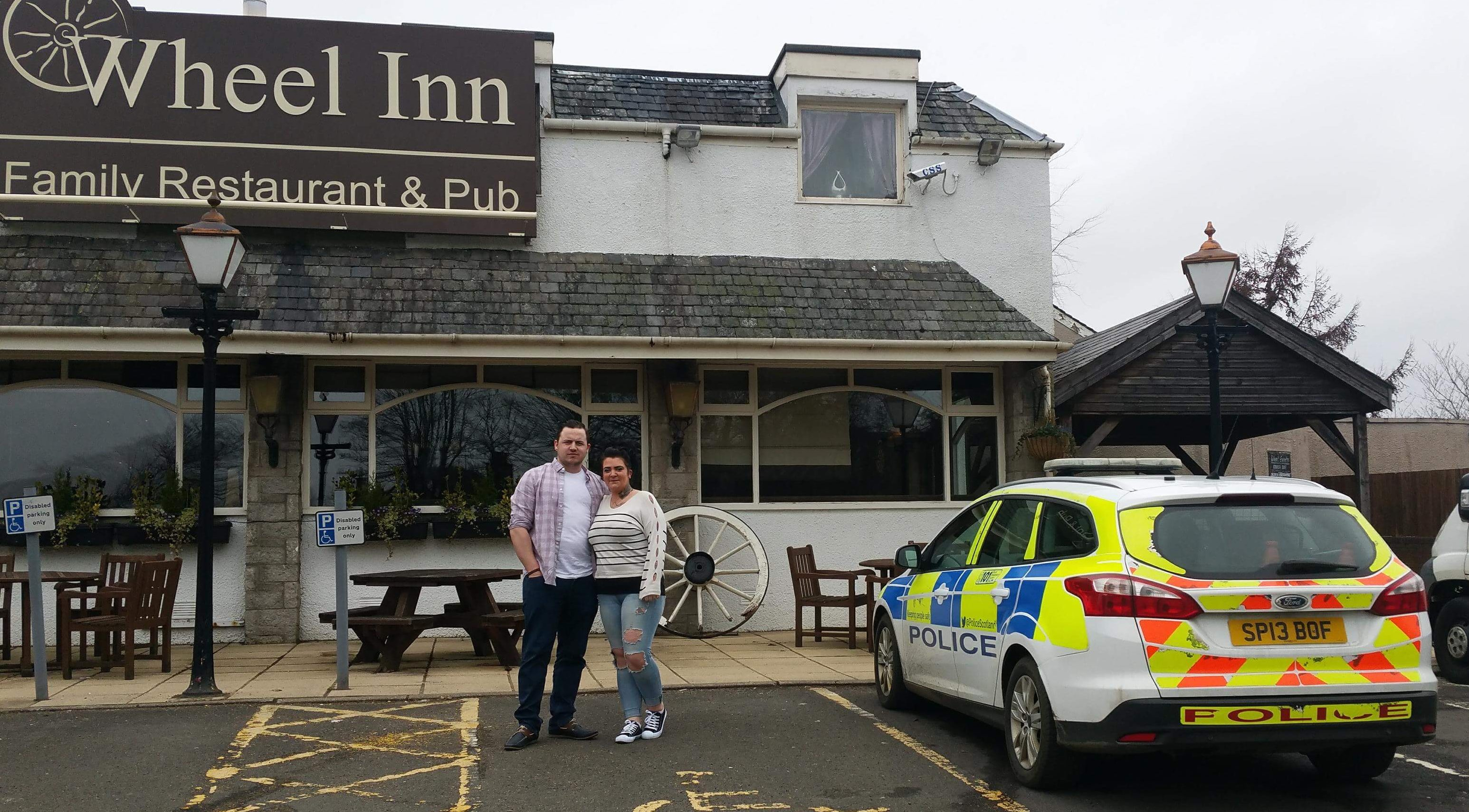 Shaun and Shannon Campbell outside the Wheel Inn.