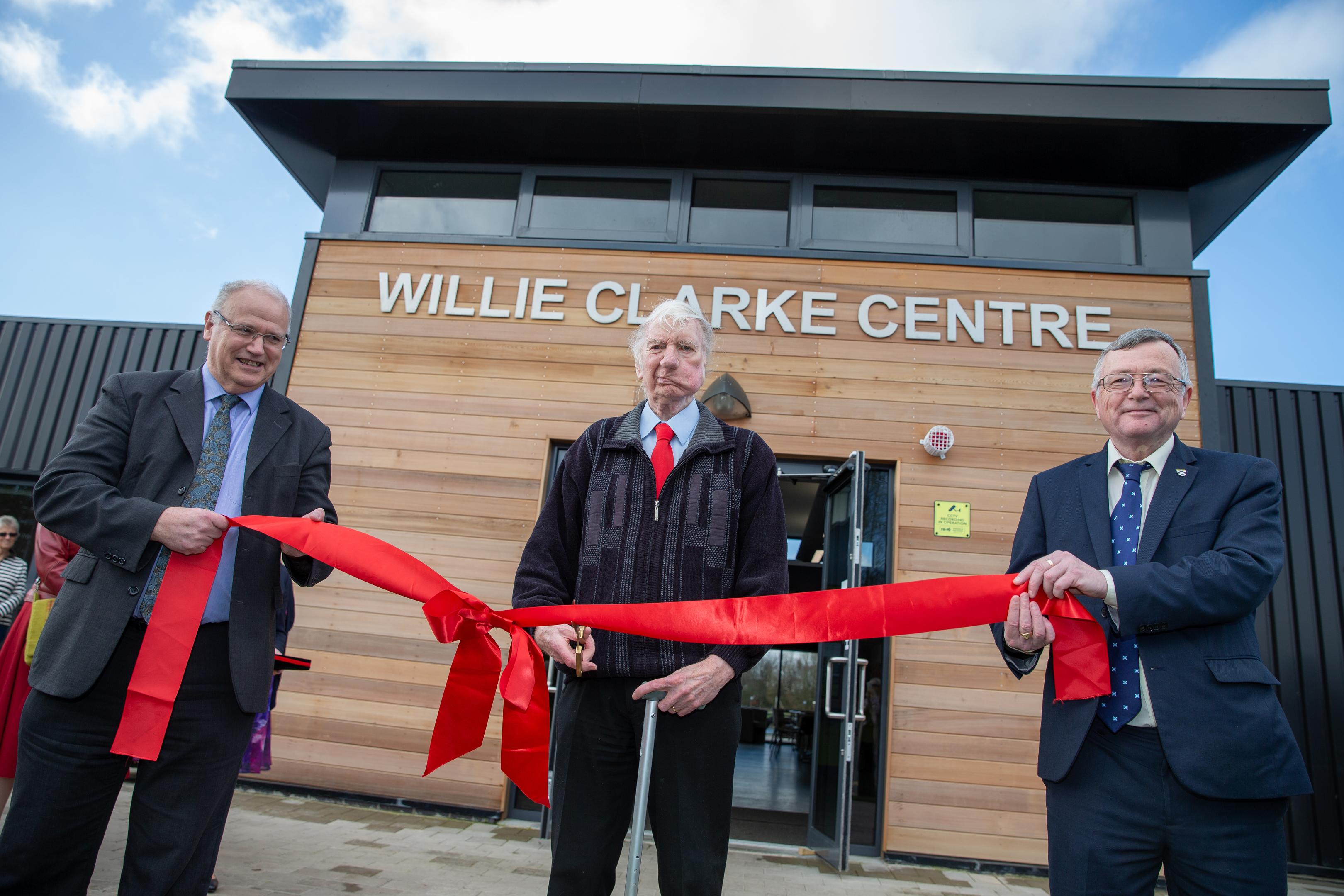 Willie Clarke officially opening the Lochore Meadows centre alongside Fife Council leaders David Ross, left, and David Alexander.