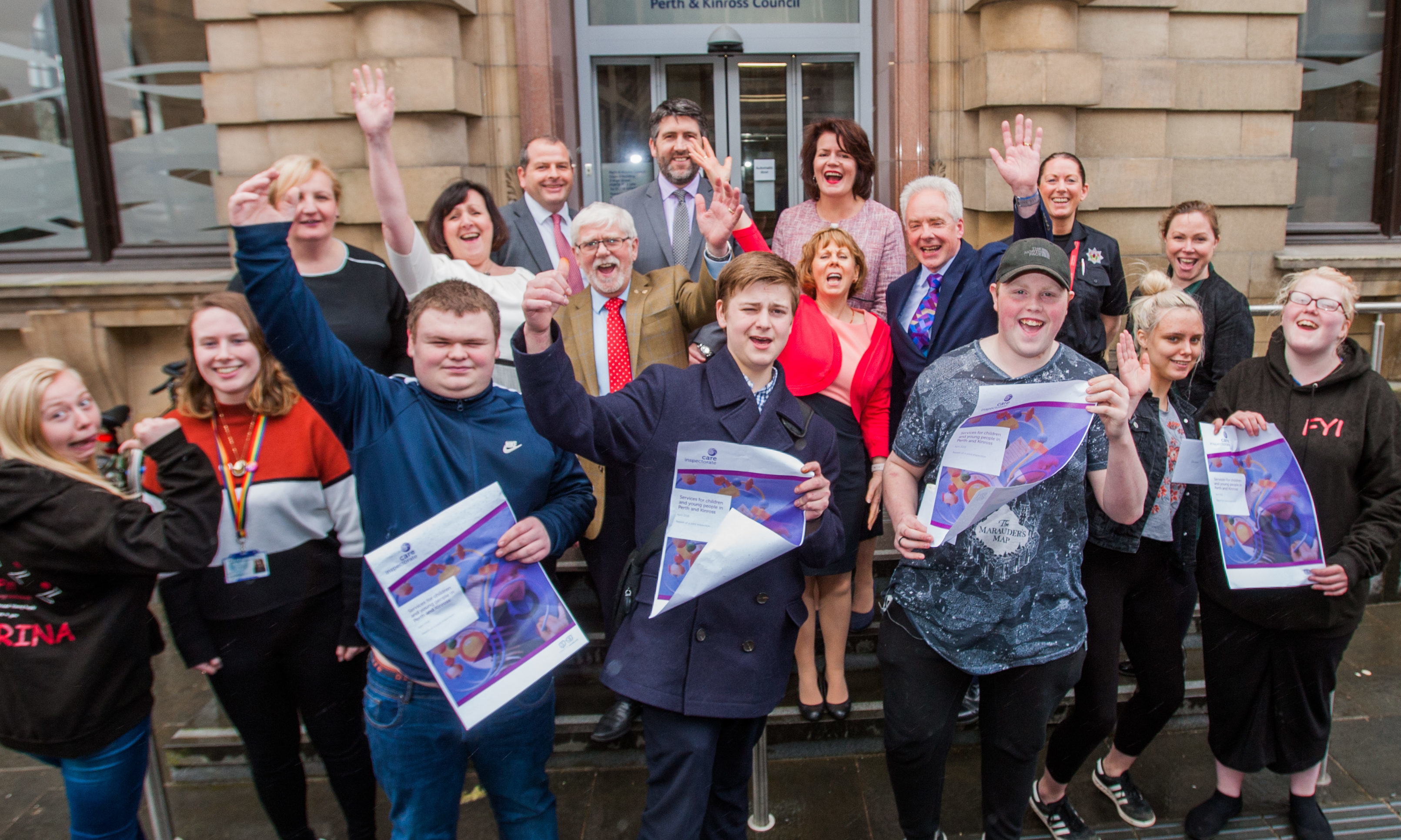 Perth and Kinross Council celebrates a glowing report in relation to youth projects. Picture shows some of those involved including Chief Executive Bernadette Malone and Provost Dennis Melloy (middle, centre).
