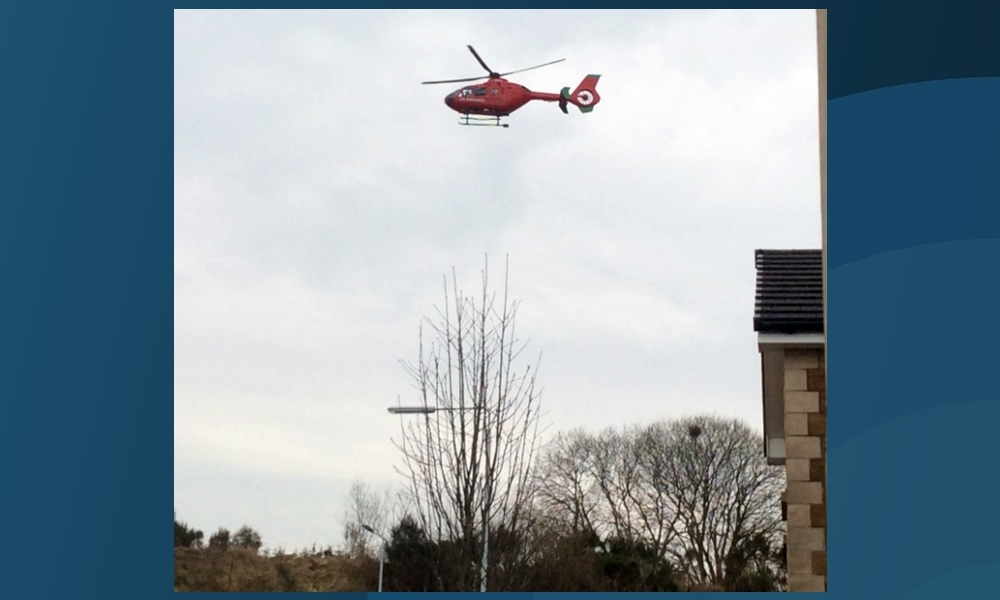 The air ambulance called to the scene of the accident in Kelty.