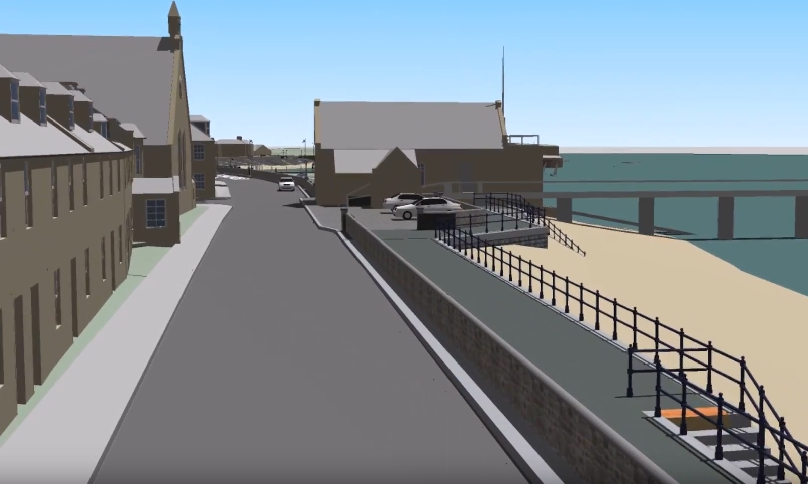 The Broughty Ferry flood defence plans would include a new wall between the road and the waterfront.