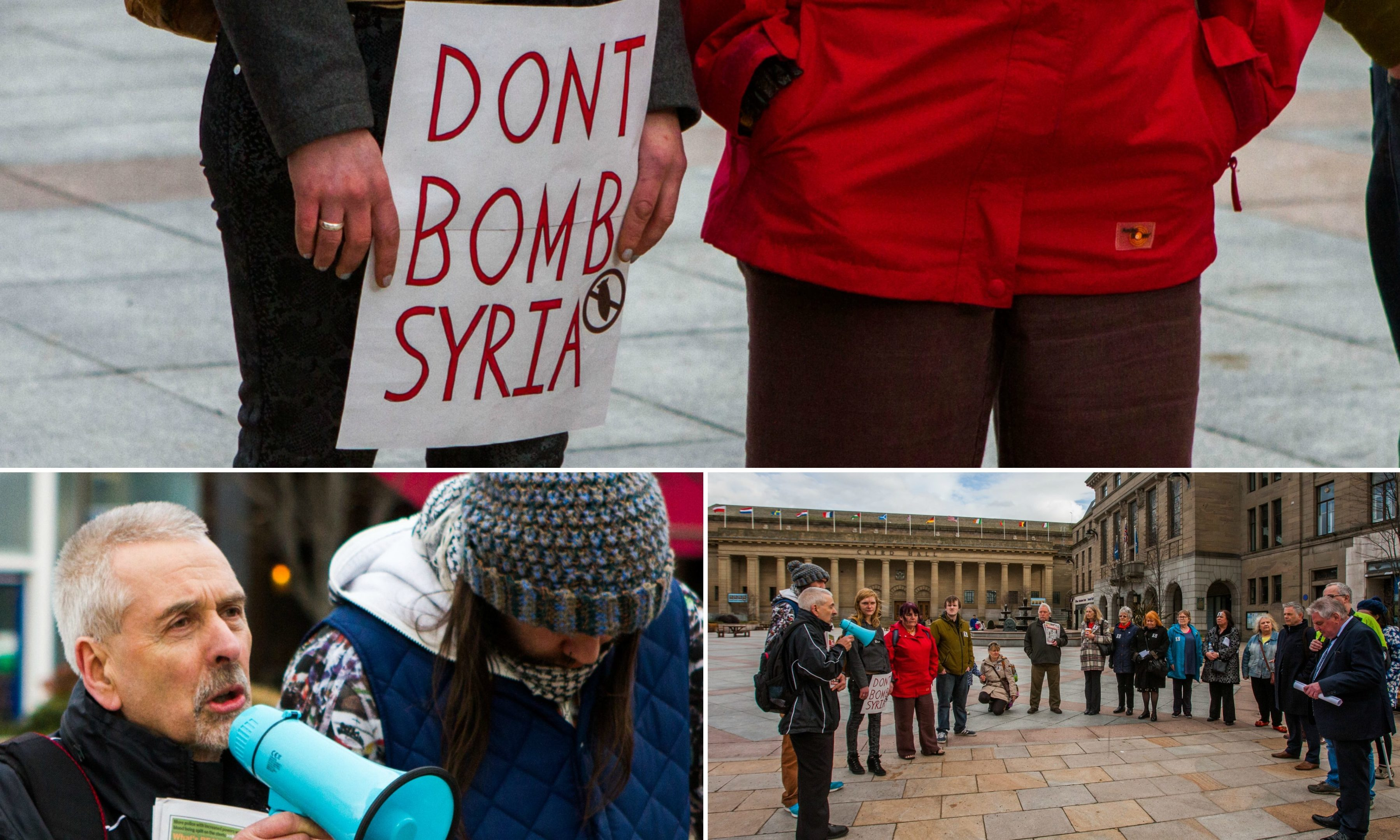 Protesters gather in Dundee city centre to protest the Syria air strikes.