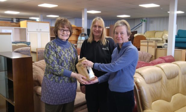 Ros Batchelor and Joanne Lansell with Hilary Graham at the York Community Furniture Store