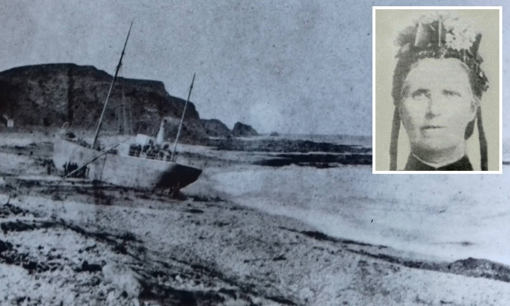 The stricken William Hope and (inset) lifesaver Jane Whyte.