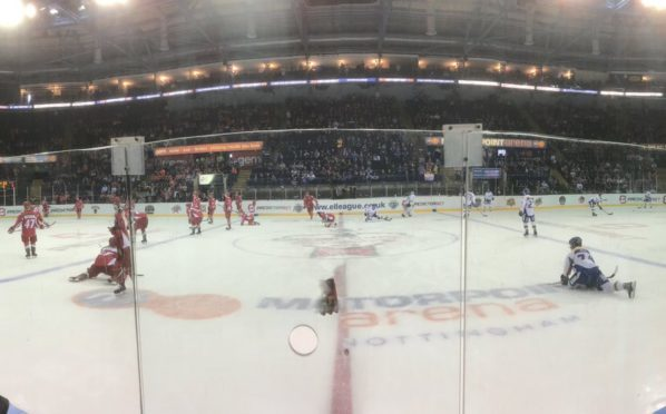 The Fife Flyers and Cardiff Devils warm up before the game gets underway