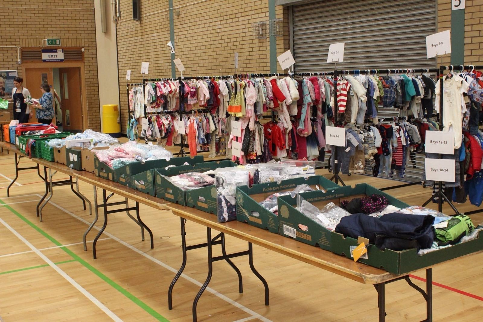 The sales offer a huge range of goods for families.