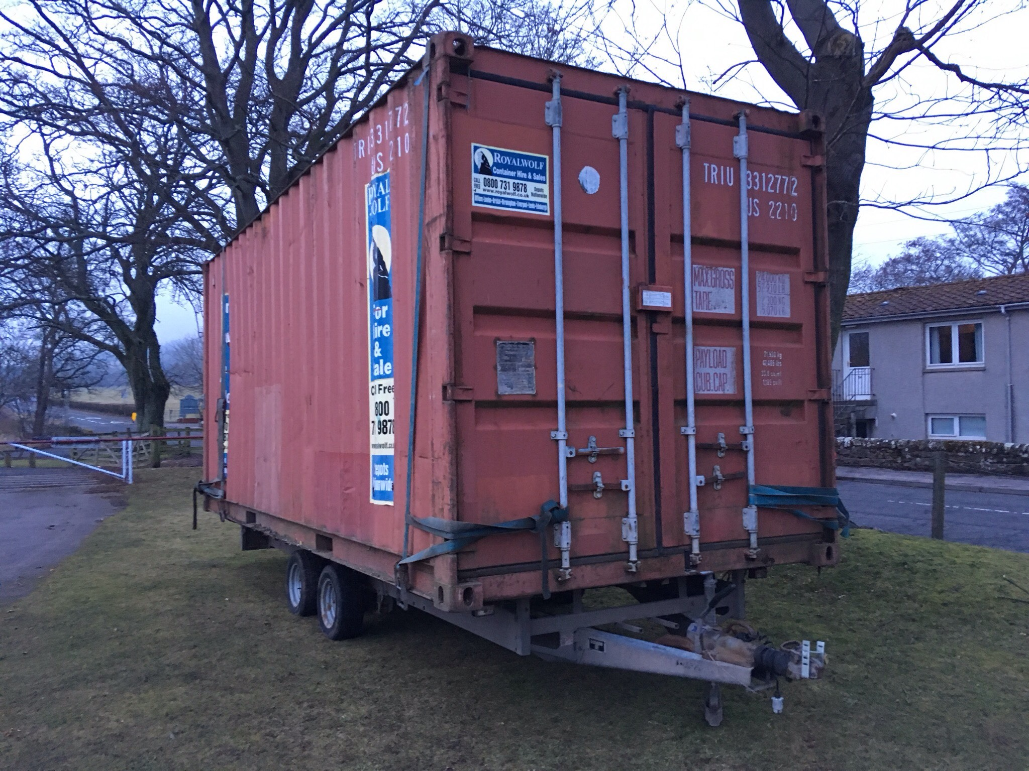 The flatbed trailer and storage unit stolen from the Duffus Park in Cupar