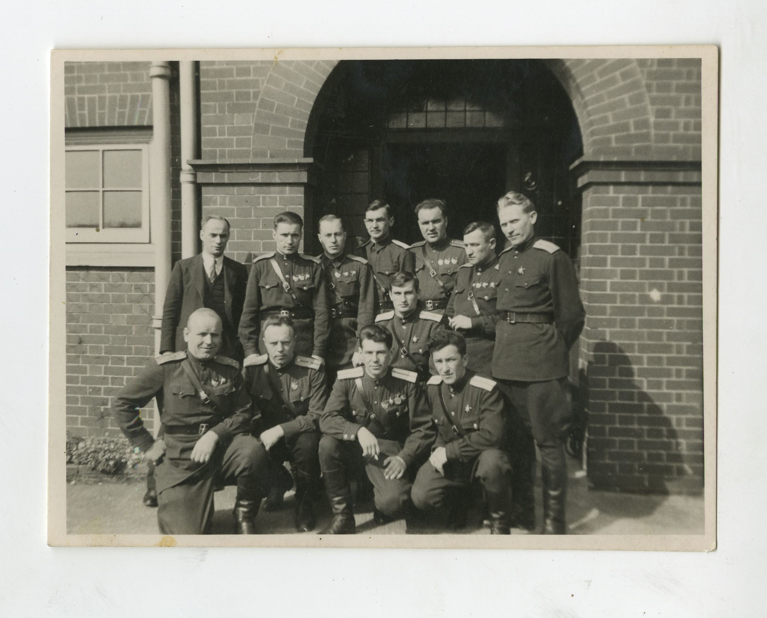 A few of the Soviet airmen who arrived in Scotland in 1943 to undertake top secret training at Errol Airfield, including Commander Peter Kolesnikov (1st row, left)