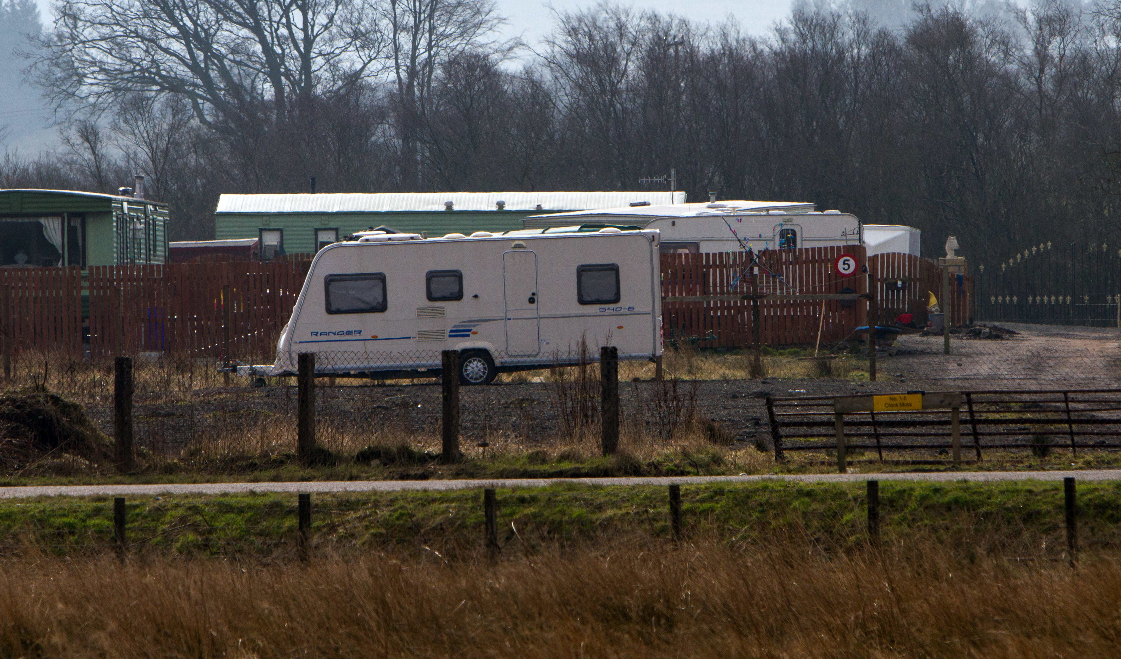 The travellers site at Crook Moss .
