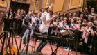 The Scottish recording session for the new Military Wives album, with conductor Dominic Ellis-Peckham.