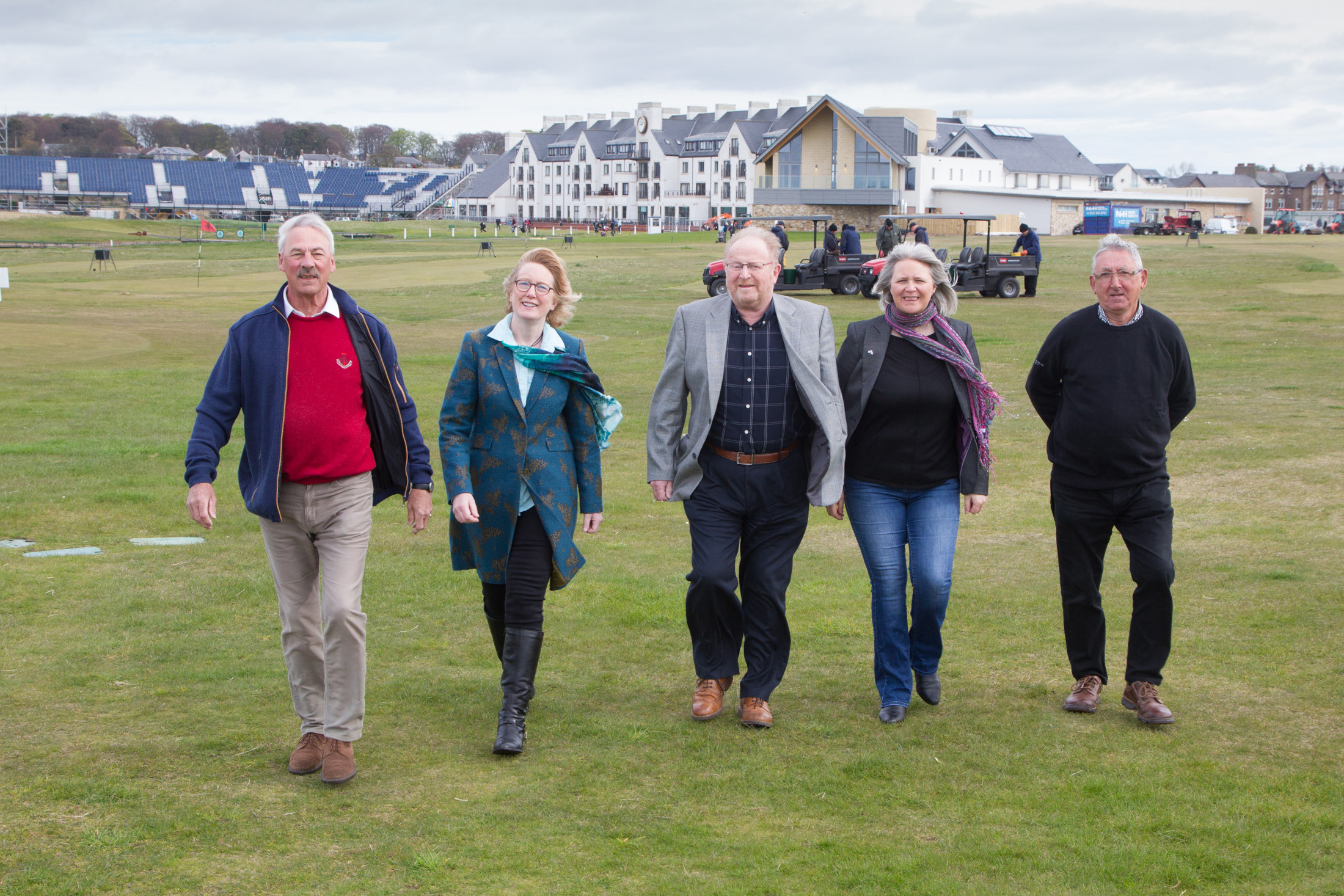 Members of Carnoustie Community Development Trust at Carnoustie Golf Links. L to R: Neil Watson, Suzi Caesar, Derek Miller, Pauline Lockhart and Ed Oswald.