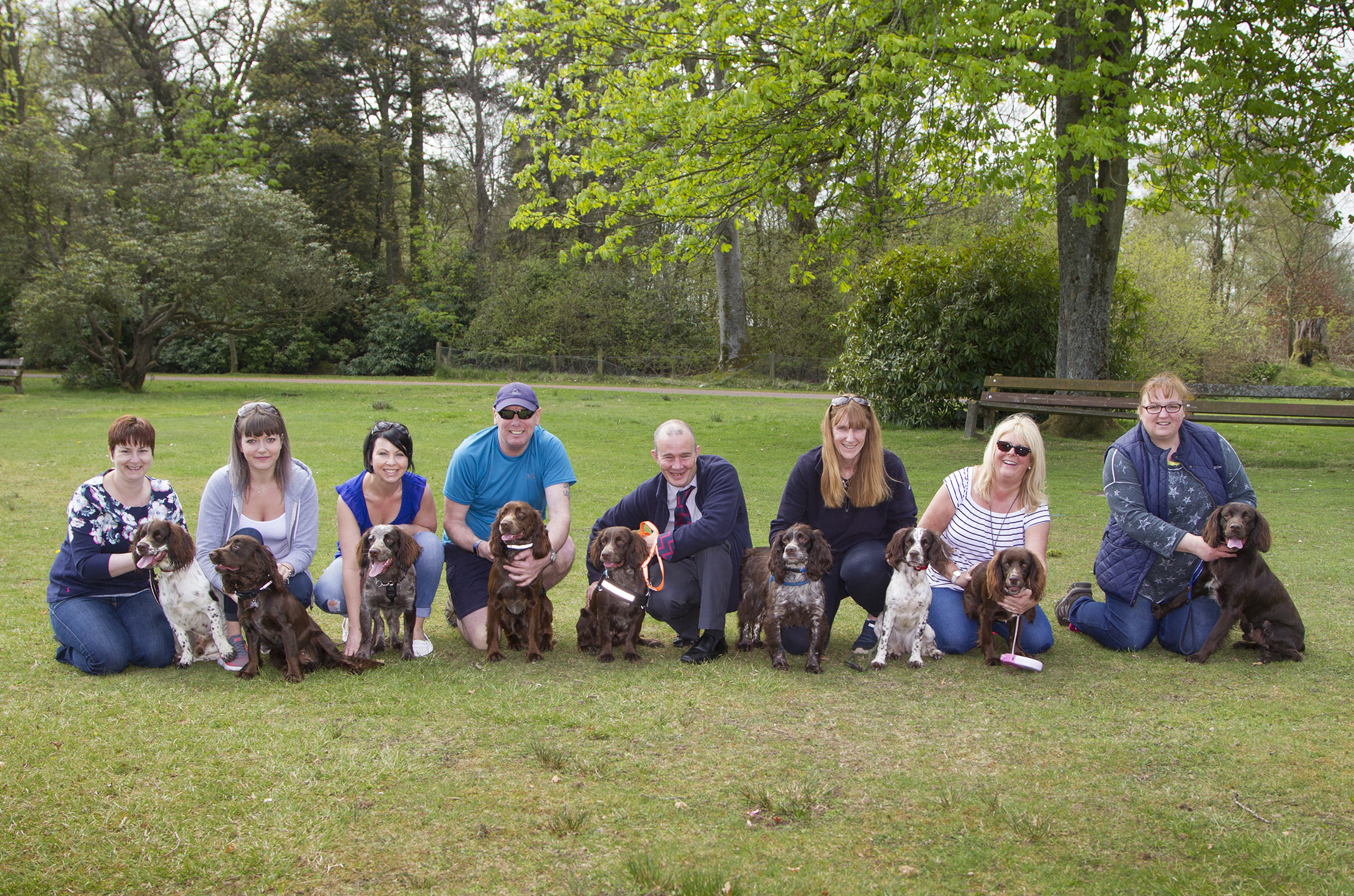 Jacqui Low, third right, with Fern (mother of all the dogs) and Thomas Masters, fourth right, with his film star Bravehound dog Antis.