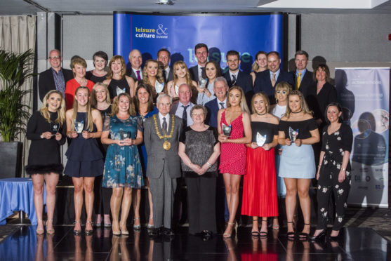 Winners and sponsors at the Active Schools Volunteer Awards.