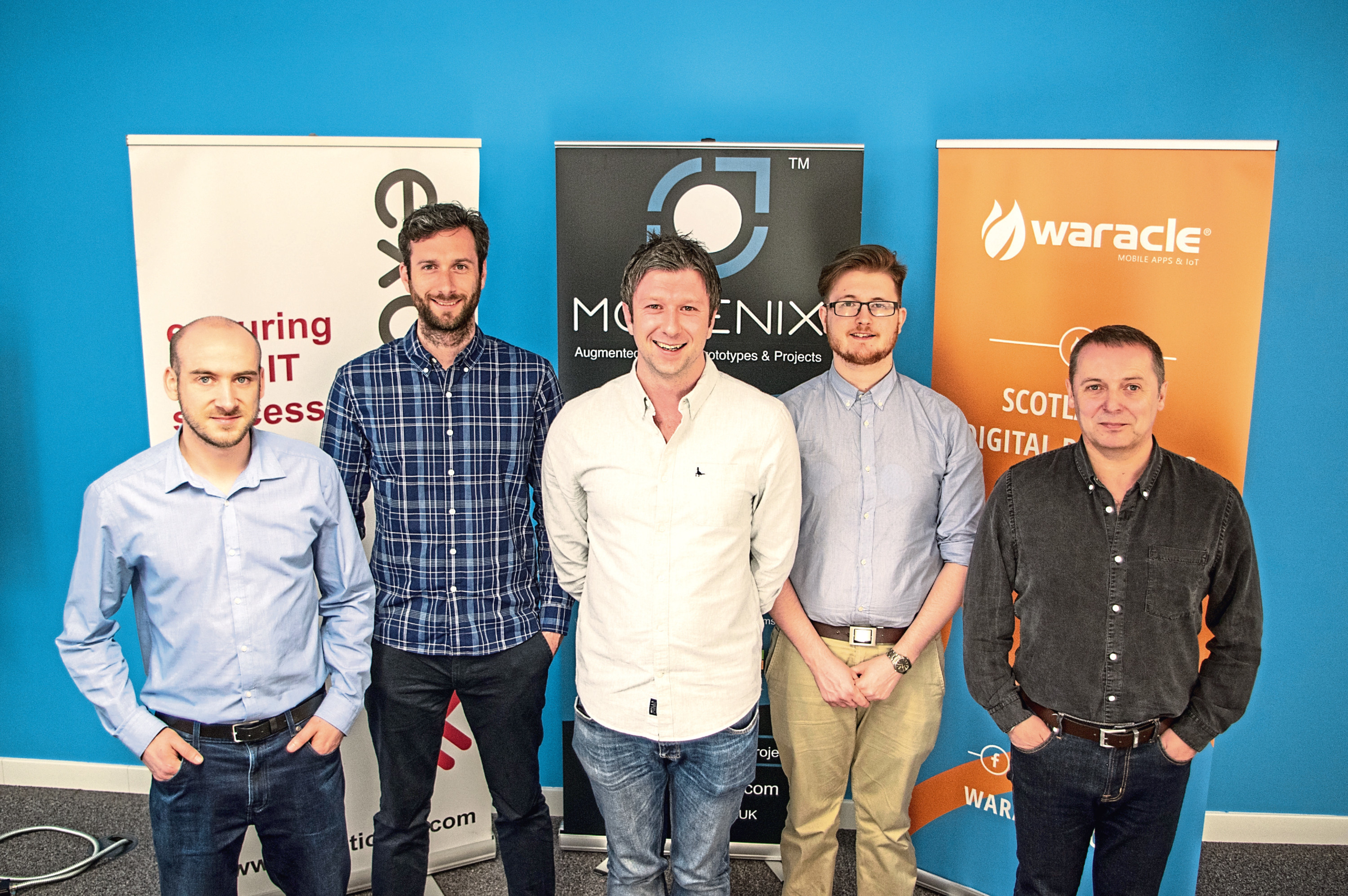 Some of the Waracle team - Mike Wharton, David Romilly, Michael Romilly, Michael Brown and Martin Burke