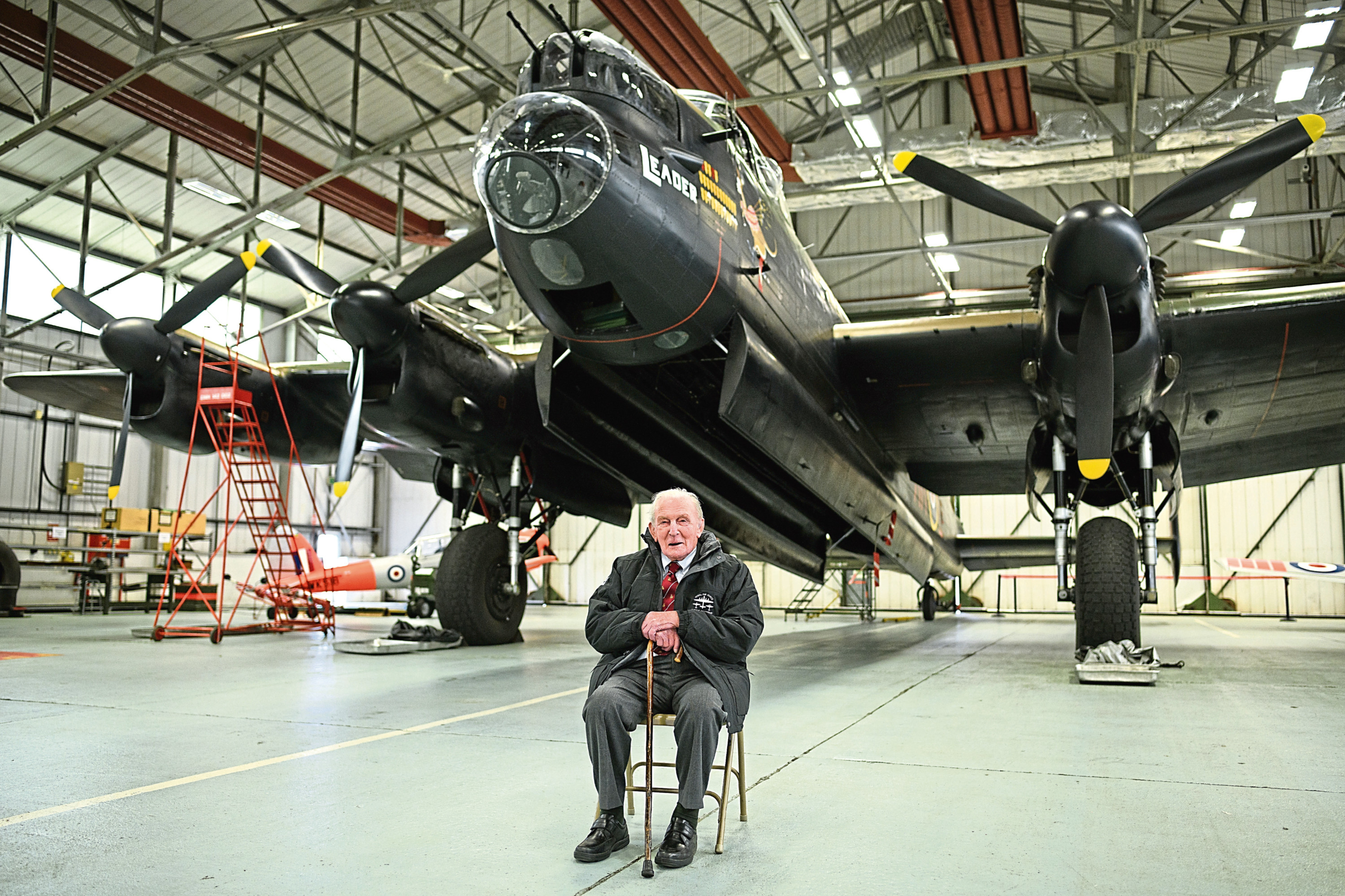 Britain's last surviving Dambuster, Squadron Leader George 'Johnny' Johnson, poses for a photograph during an event to mark the 75th anniversary of the Dambusters raid.