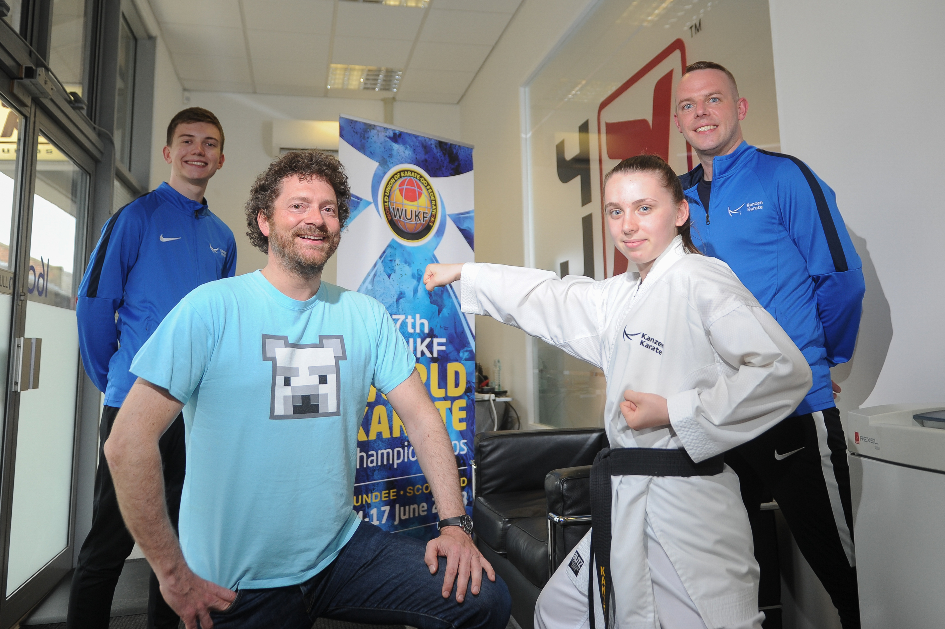 Ben Slaney, Kanzen instructor, Chris Van Der Kuyl, European champion Cerys Hawes and Sensei Roy O'Kane.