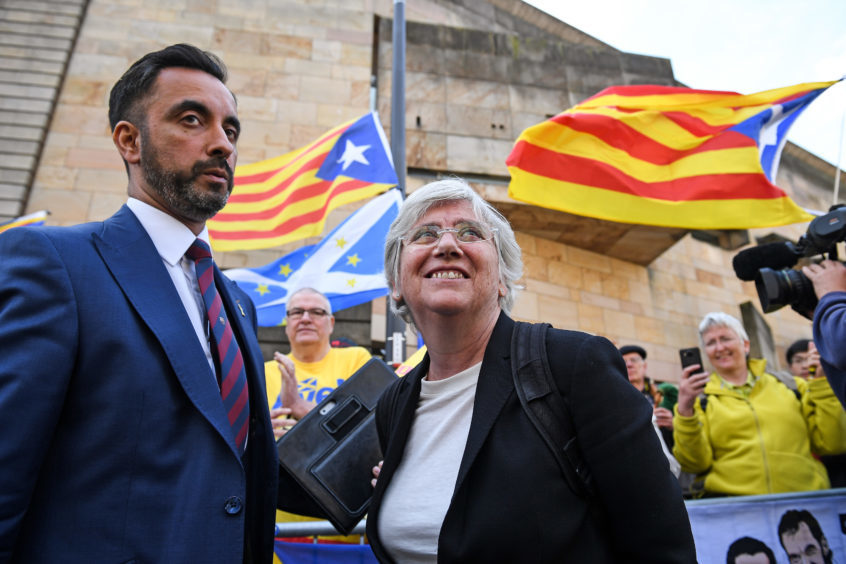 Aamer Anwar and Clara Ponsati outside court last month.
