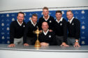 Graeme McDowell, Lee Westwood, Robert Karlsson, Padraig Harrington and Luke Donald with Thomas Bjorn after yesterday's Ryder Cup announcements at Wentworth.