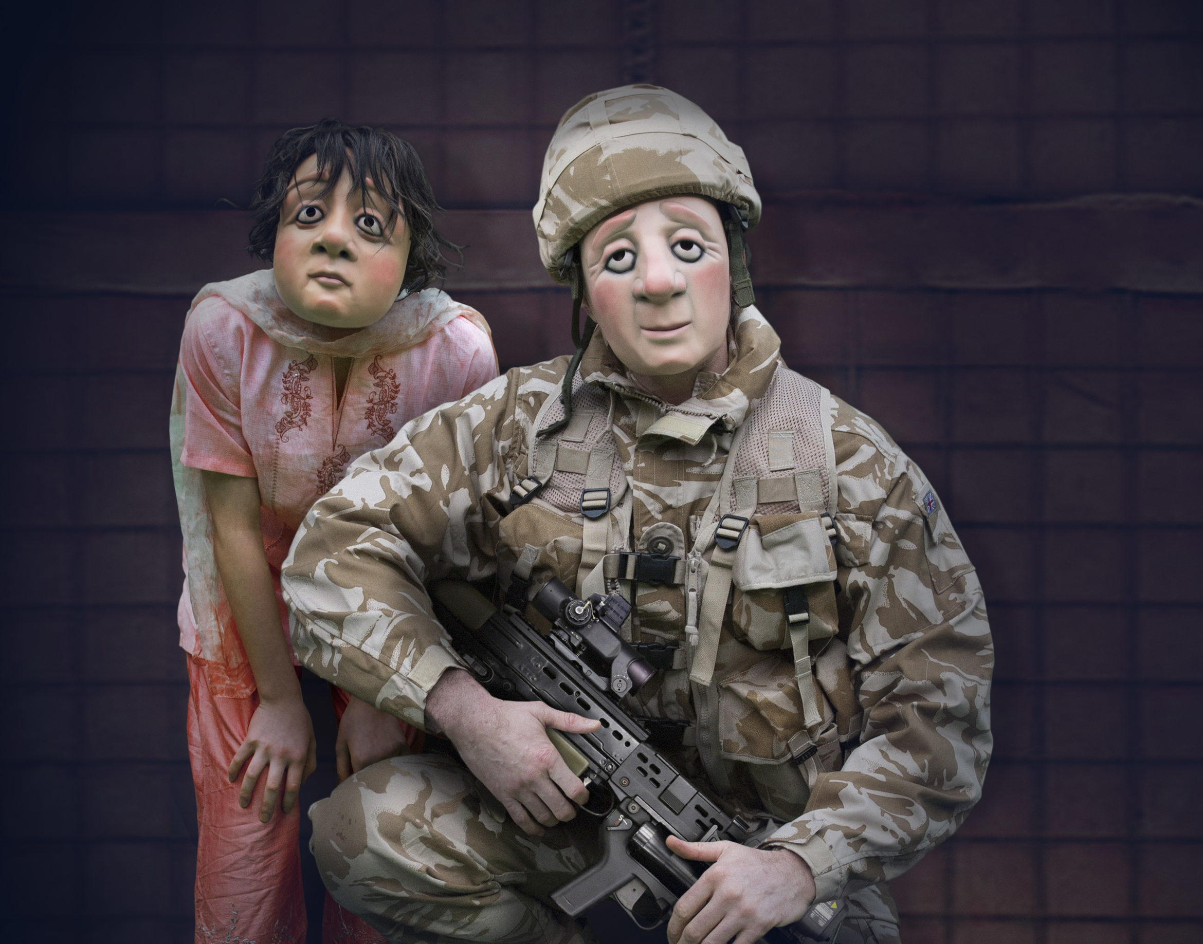 A soldier and child in A Brave Face