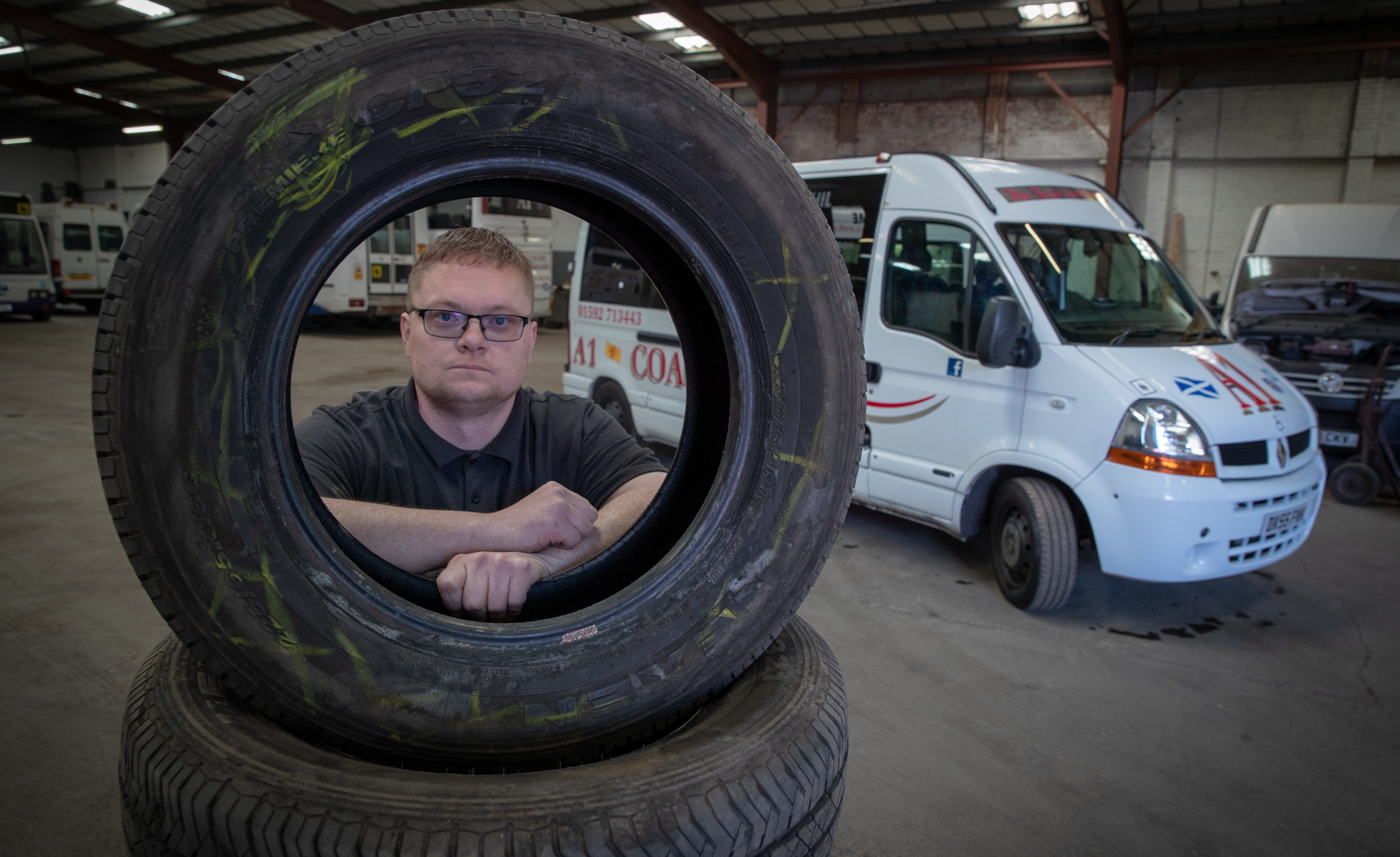 A1 maintenance manager Paul Richards with some of the damaged tyres
