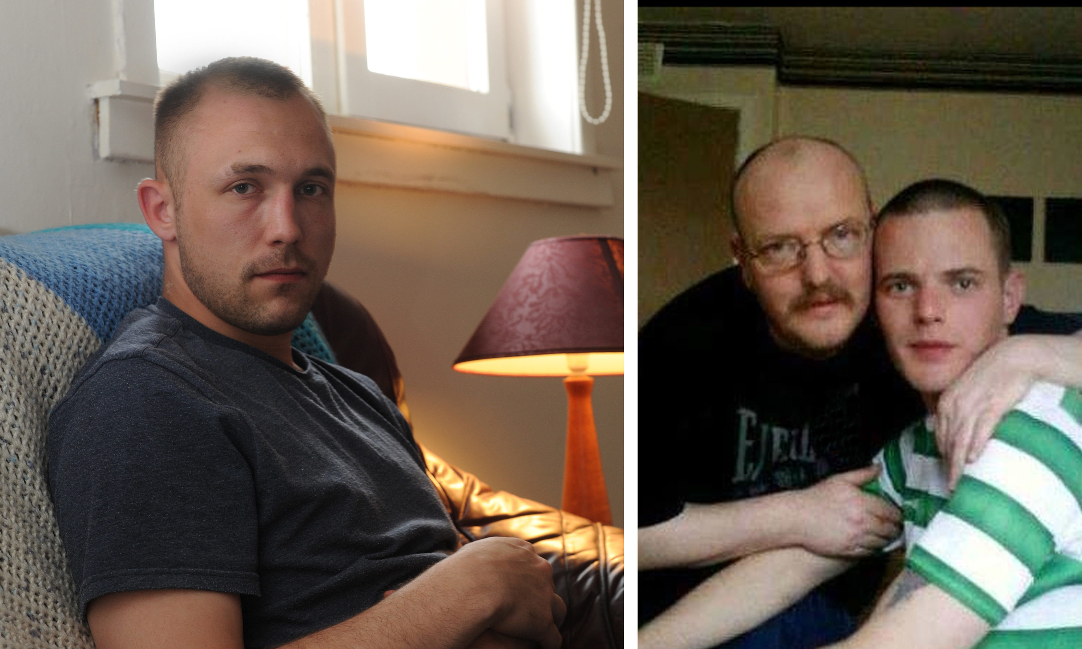 Left: Stewart McInroy. Right: Allan Bryant with his missing son, Allan Jr.