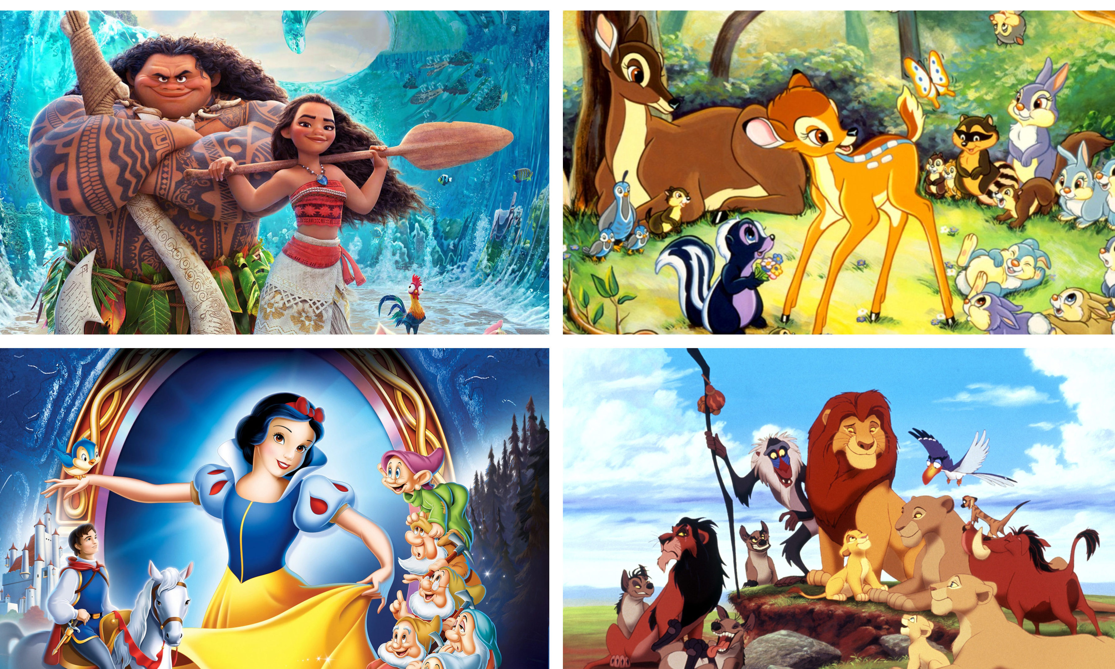 Stills from Disney movies Moana, Bambi, Snow White and the Seven Dwarfs and The Lion King.