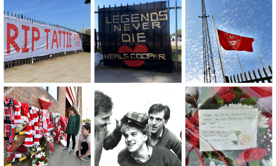 Tributes to Neale Cooper have appeared outside Pittodrie