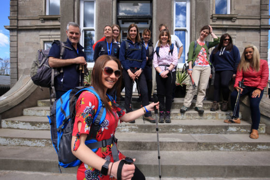A group of teachers at Craigclowan Prep School in Perth are taking part in the Cateran Yomp. Mel Hill is at the front.