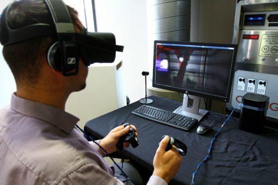 VR gaming at the Abertay Digital Graduate Show.
