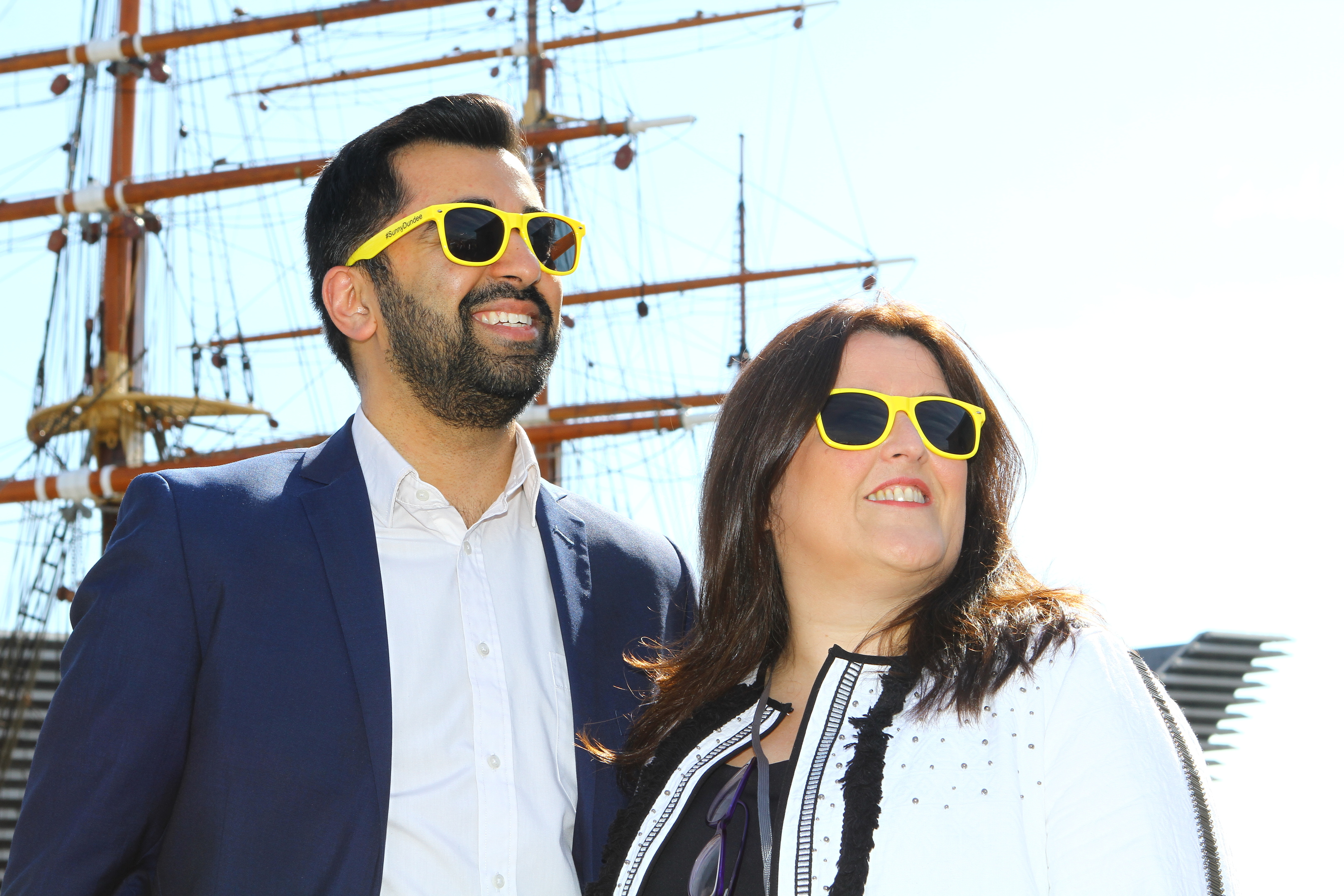 Transport Minister Humza Yousaf with Cllr Lynne Short, sporting their Sunny Dundee sunglasses at Discovery Point,at the launch of the NaviGoGo app