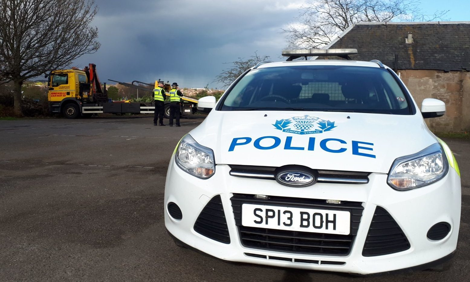 Police at Caird Park on Wednesday.