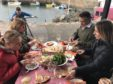 Dining at Crail Harbour with Christopher Trotter and guests