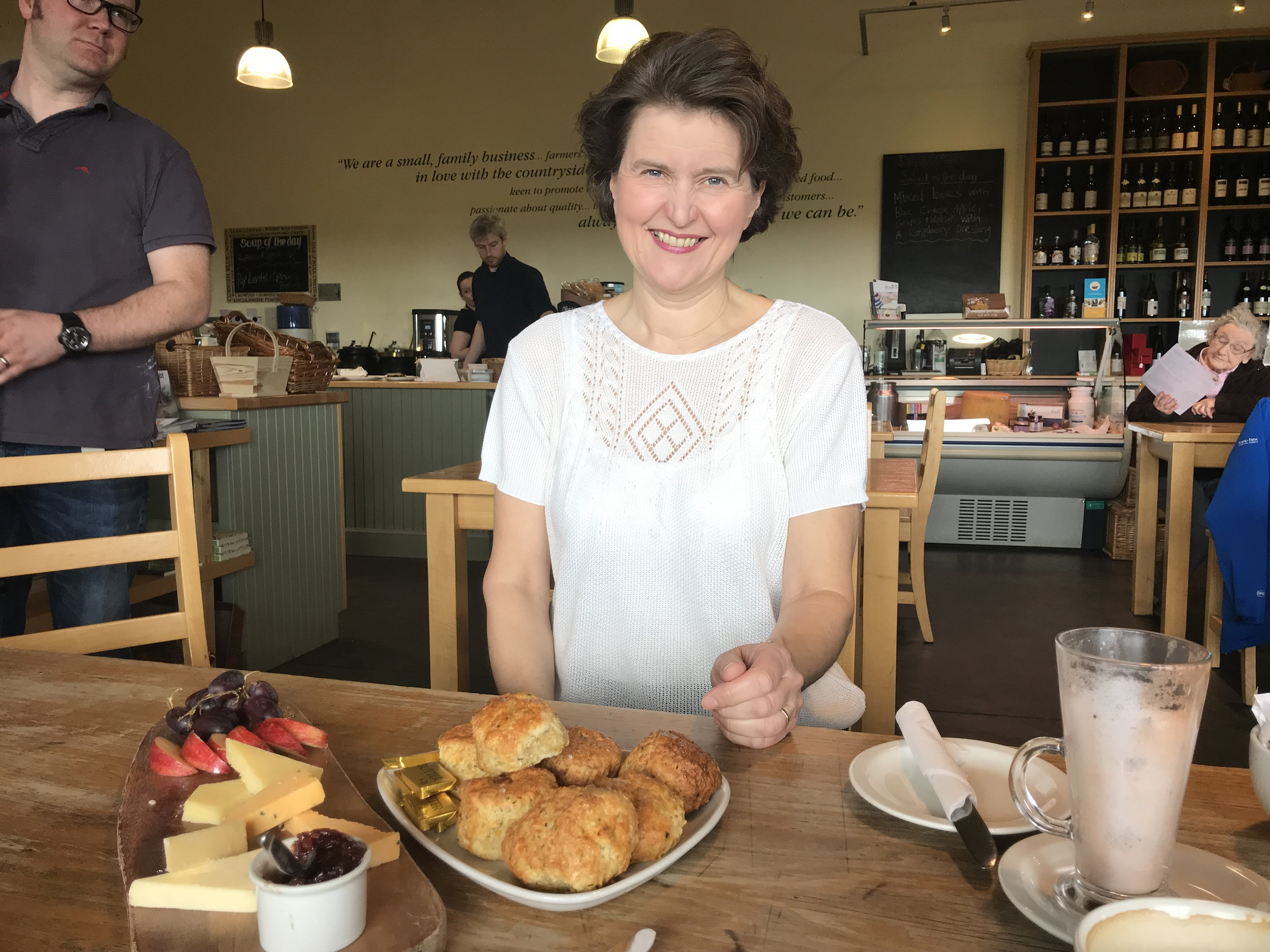 Jane Stewart of the St Andrews Farmhouse Cheese Company with a selection of scones and locally made cheeses