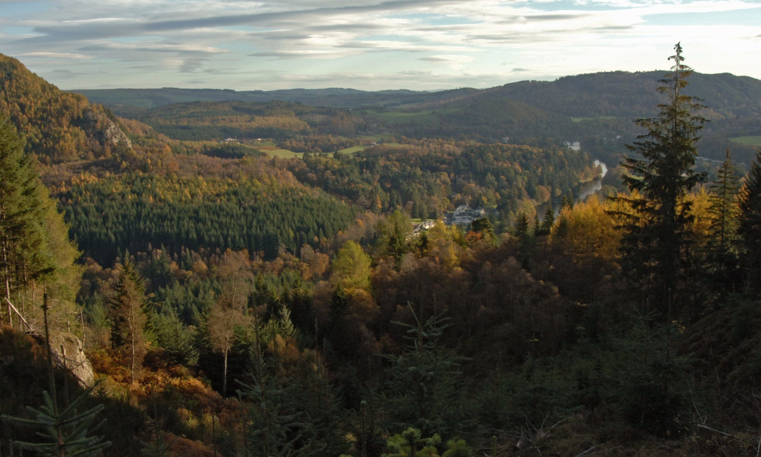 View from Craigviean Forest over Dunkeld and the river Tay.