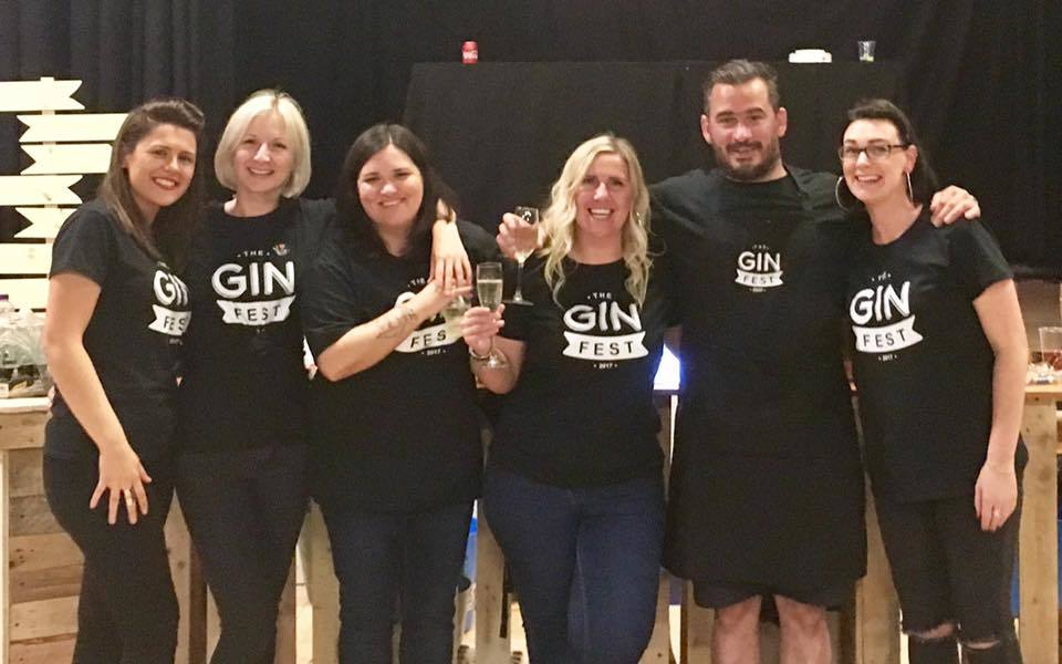 The Gin Fest team. L-R: Stacy Holmes, Emma Webster, Louise Ross, Carrie Shannon, Stan Reid and Laura Brown.