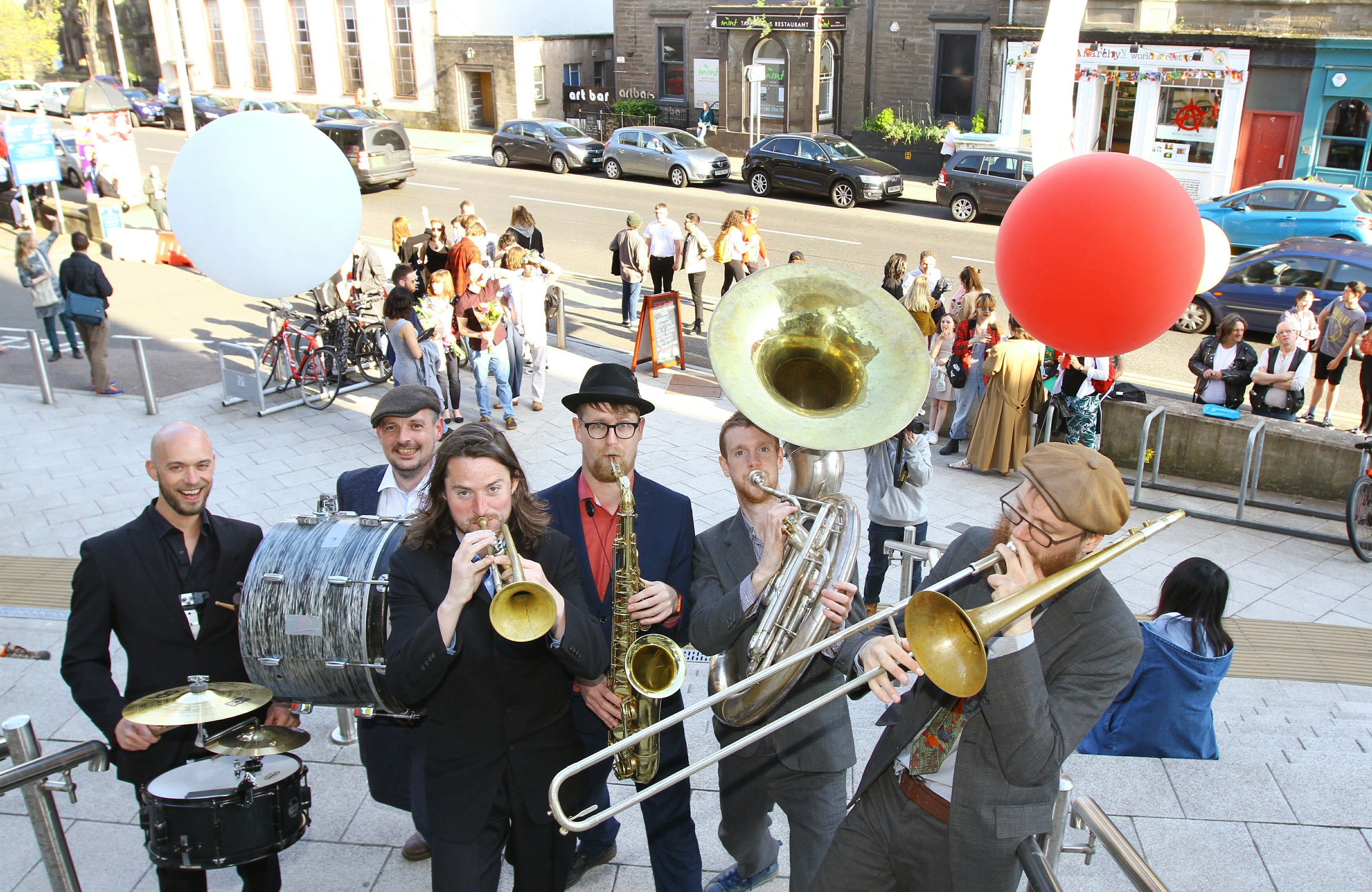 The Brass Gumbo band entertaining at the opening of the DJCAD Degree Show.