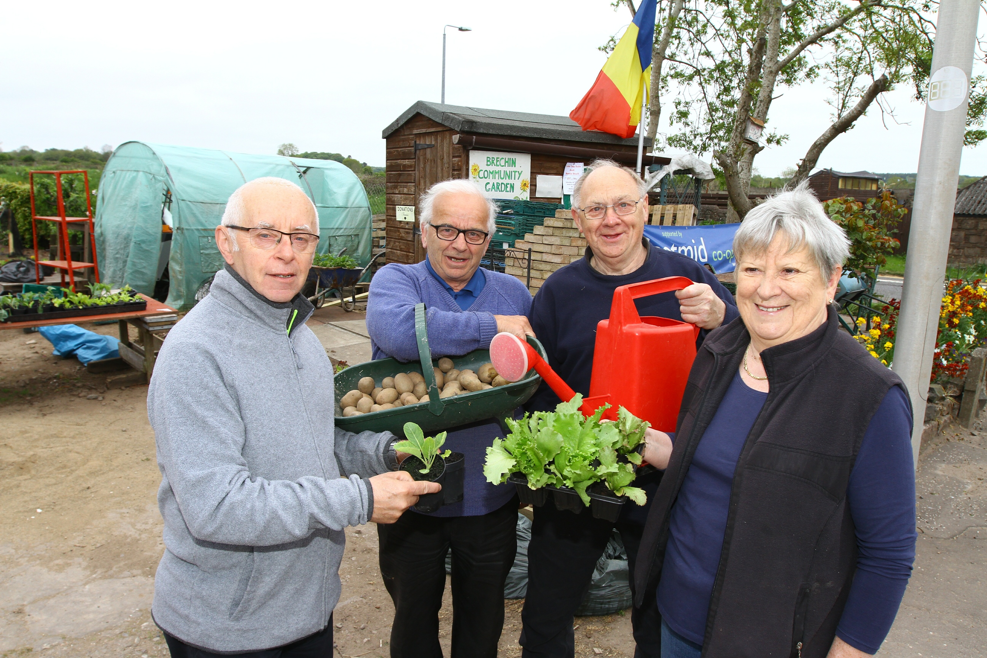 Robert Anderson, Michael Forbes, Michael Cronin and Jess Christie  at the Brechin Community Garden.