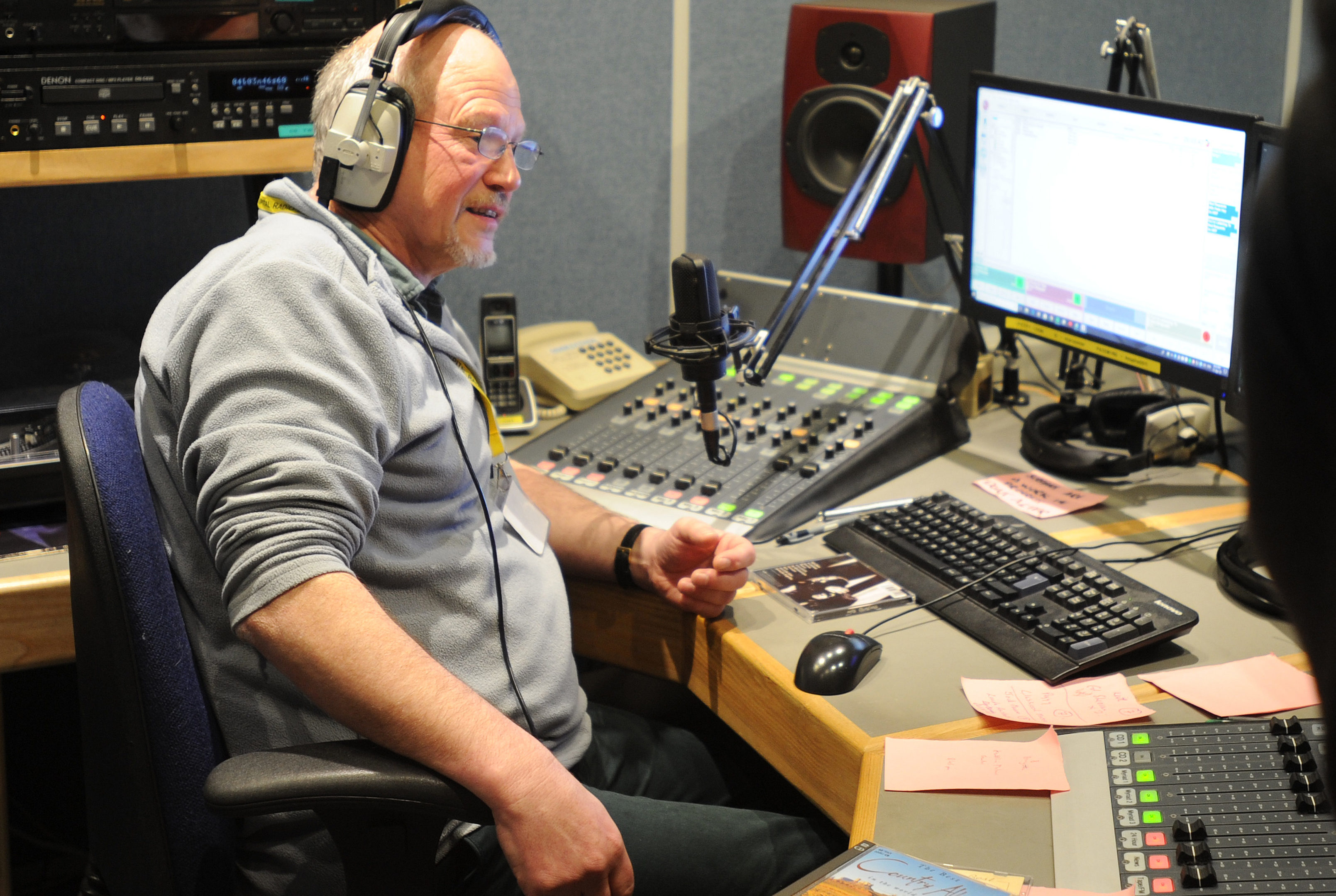 Volunteer, Peter Drummond Hay broadcasting the request show Perth
