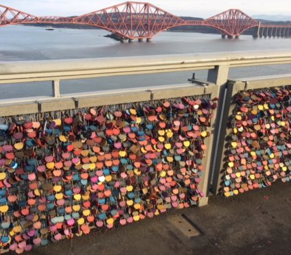 Love locks at Hilton Queensferry.