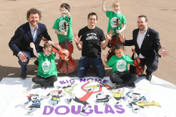 Optimistic Sound chairman Chris van der Kuyl, Big Noise Douglas team leader Andy Thorn and Dundee City Council's convener of Children and Families Service Councillor Gregor Murray with pupils (from left) Lewis Gruar, Tyrese Bell, Amy Clark and Ava Mcobro.