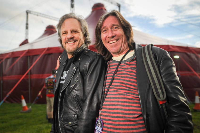 Mark Evans (AC/DC bassist) and Dave Stevens (Bon Scott's son) before going on stage for the Q+A