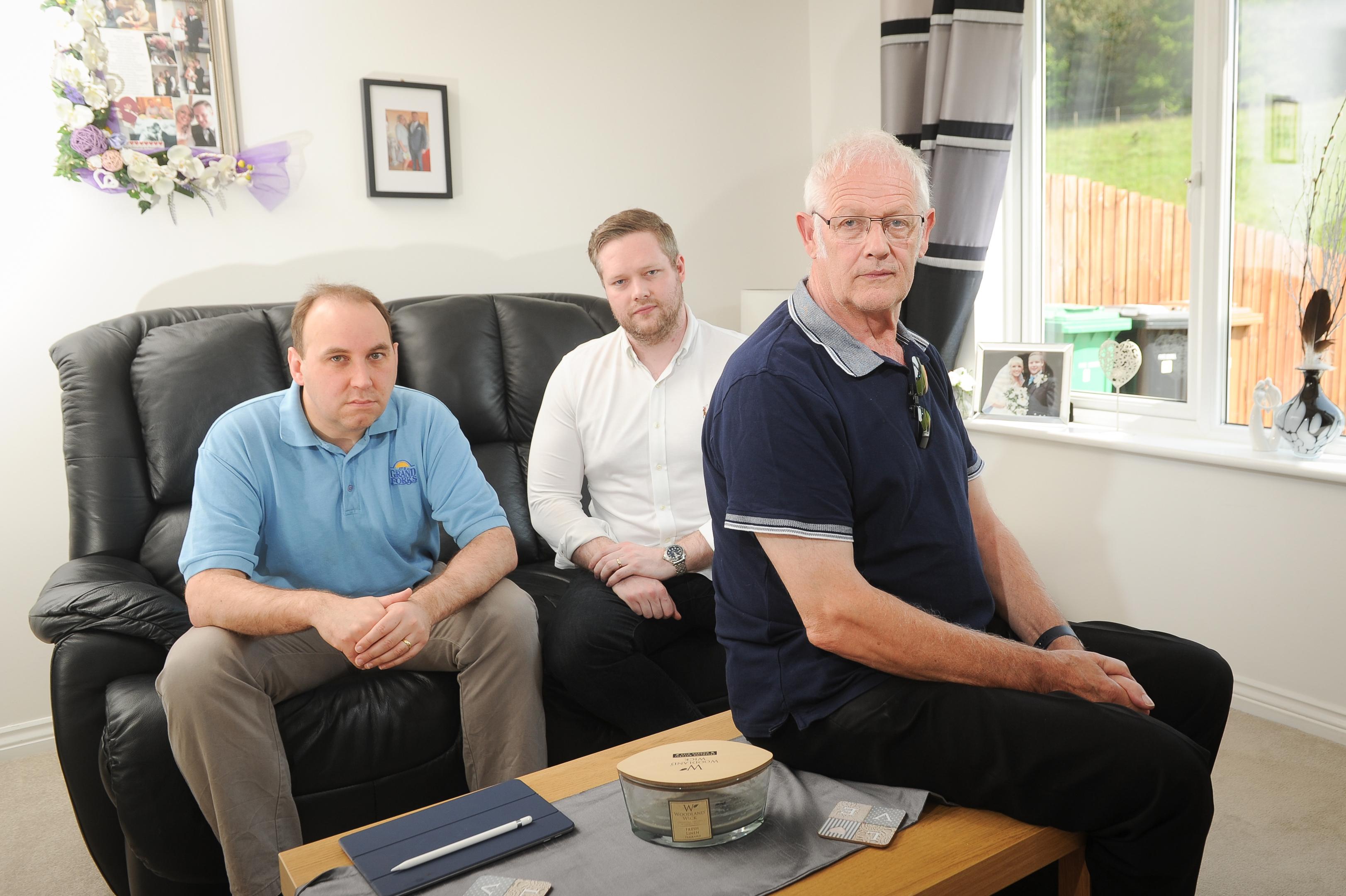 Ross Mackenzie and dad Graham with neighbour Thomas Docherty (left).