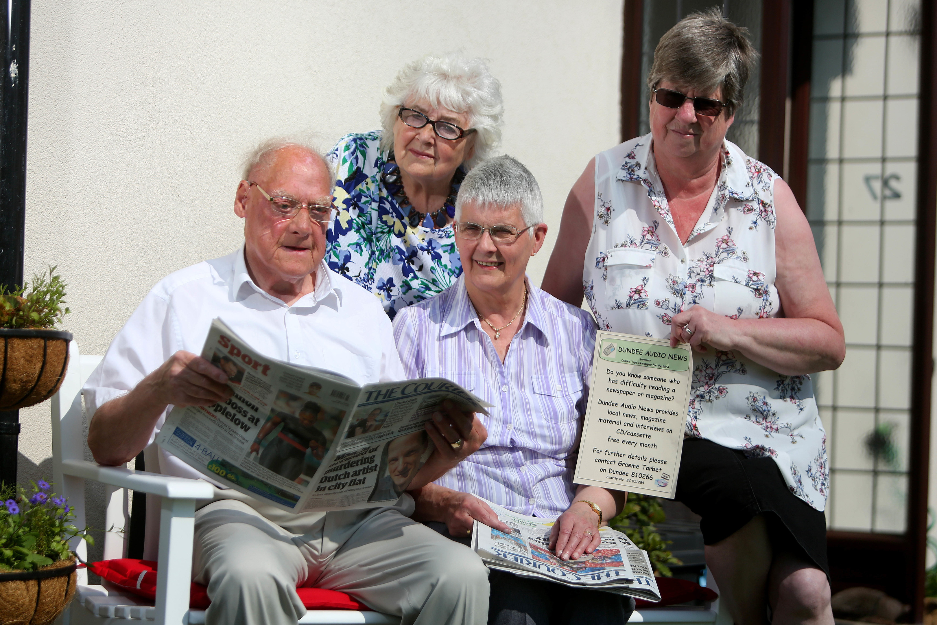Graeme Tarbet who has been running Dundee's talking newspaper service, which is marking its 40th anniversary. Pic shows; Graeme Tarbert, Pauline Meldrum, Jessie Tarbert and Irene Stephen, volunteers with the service.