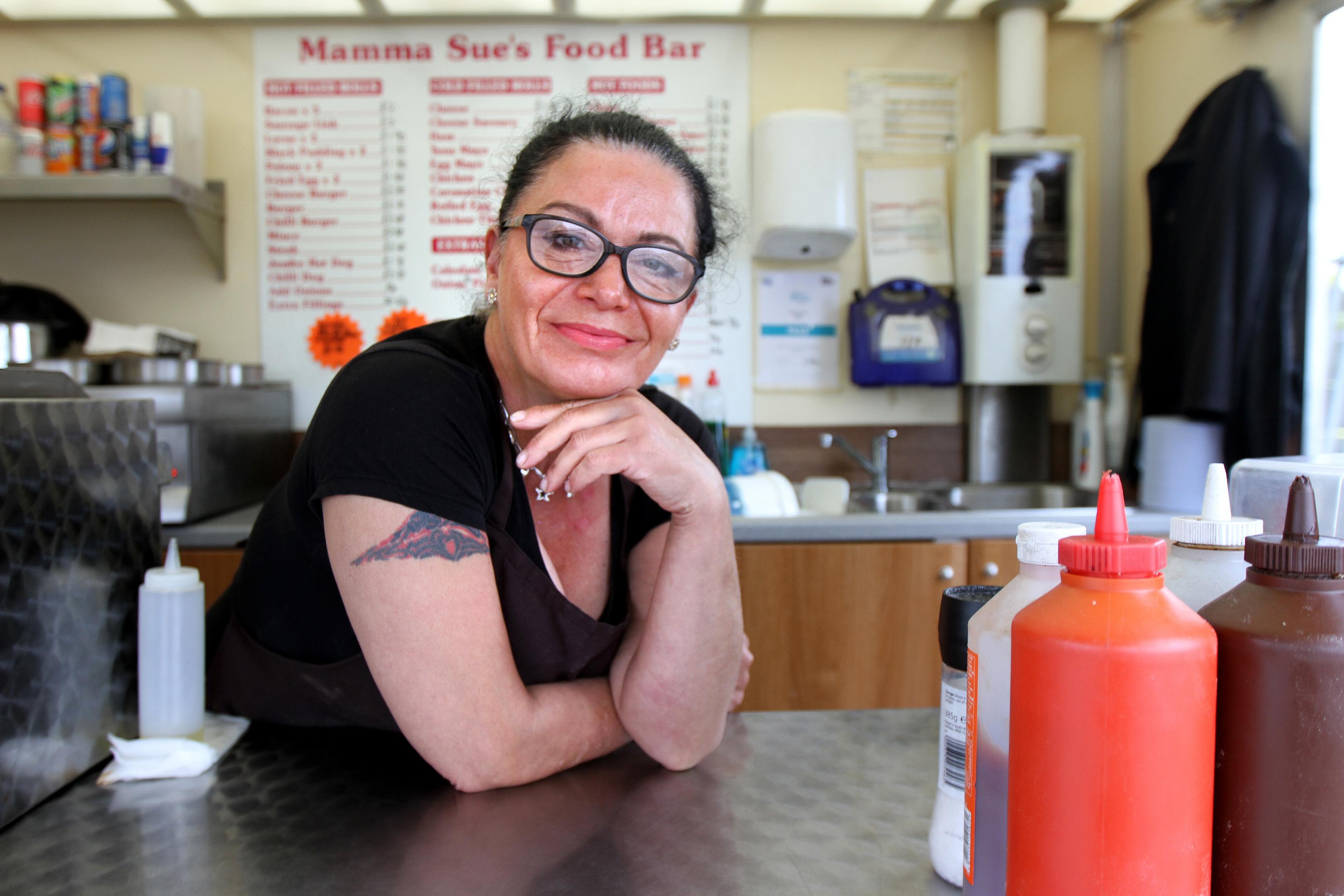 Sue Slamond's burger van Mamma Sue's was broken into.