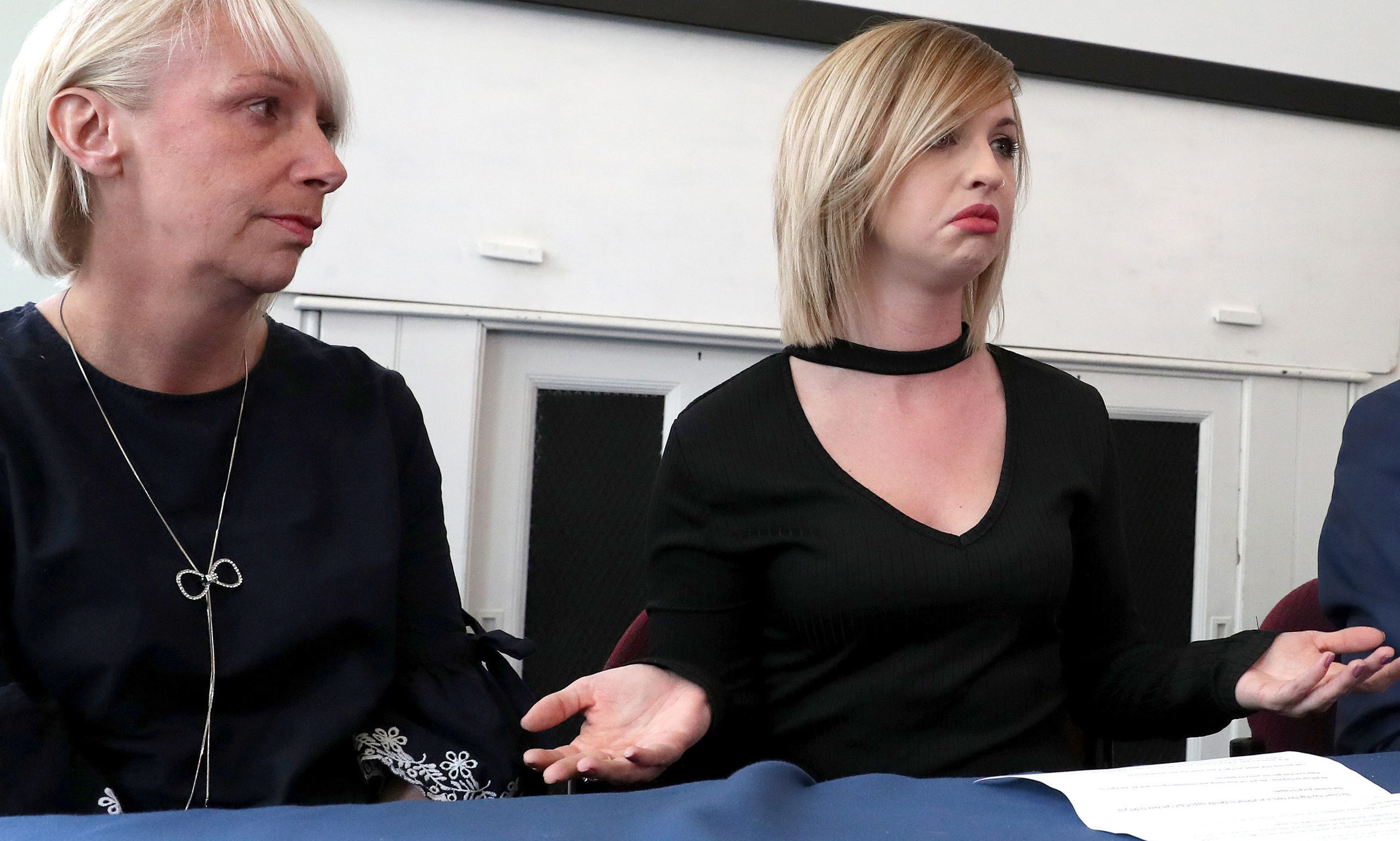 Sheku Bayoh's partner Collette Bell (right) gestures alongside her mother Lorraine during a press conference to outline their unprecedented civil action against Police Scotland.