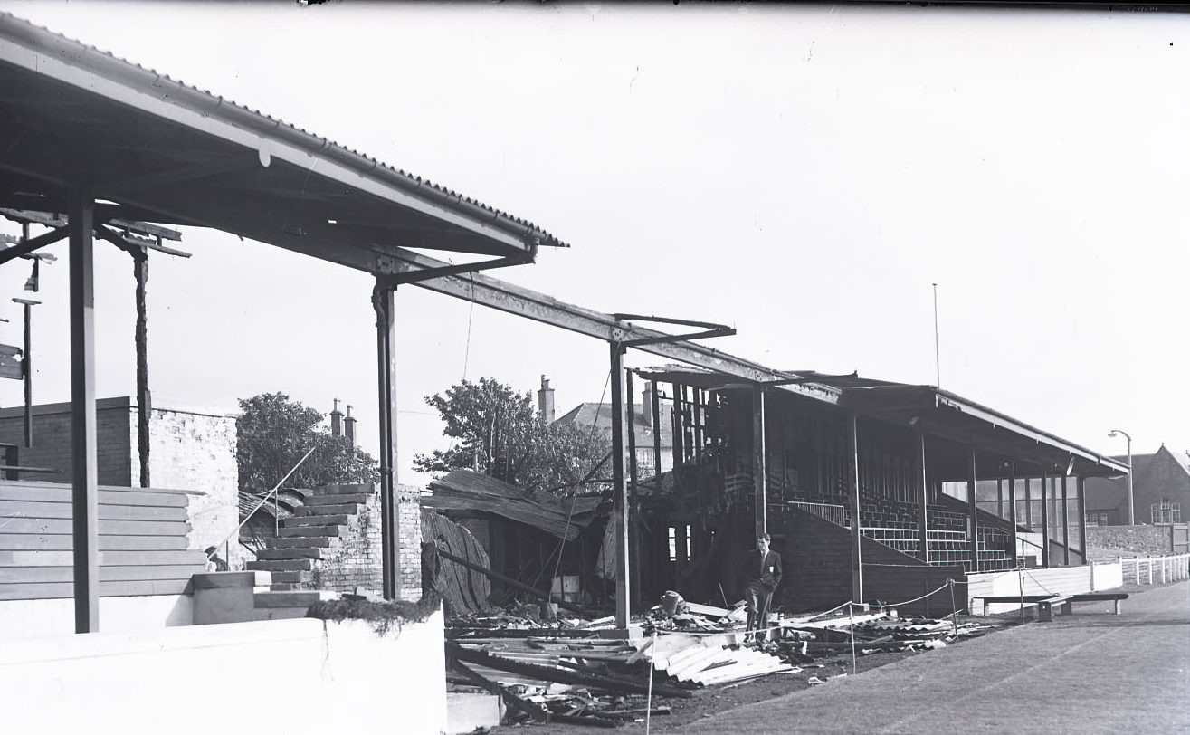 The stand after the fire in 1958.