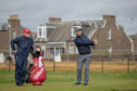 Padraig Harrington on the 18th at Carnoustie yesterday.