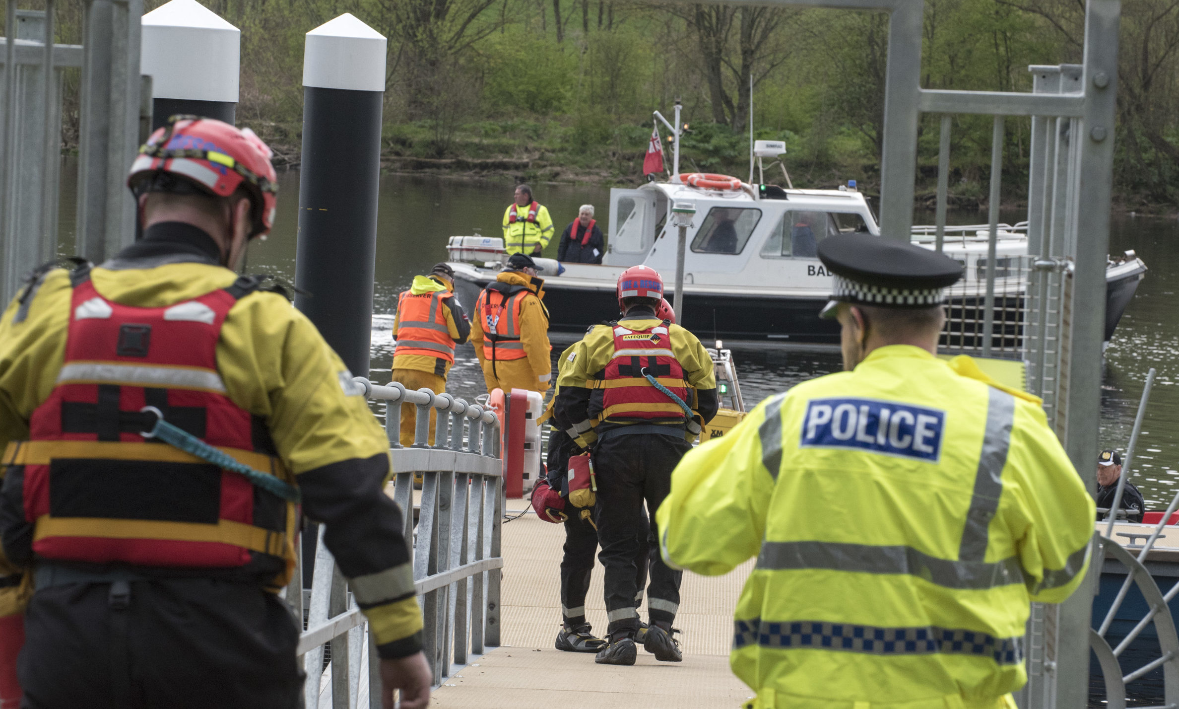 The emergency services pictured at the exercise on the Tay on Thursday night.