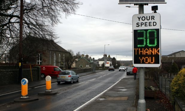 Recently installed electronic sign at Balbeggie