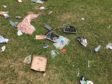 Some of the rubbish left at Broughty Ferry castle.